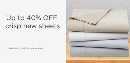 Up to 40% Off Crisp New Sheets from Sears
