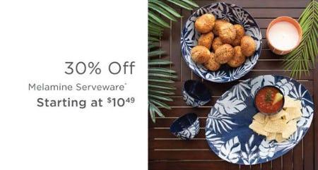 30% Off Melamine Serveware from Kirkland's