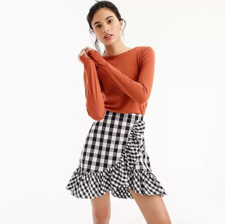 Ruffle Mini Skirt in Gingham from J.Crew