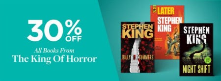 30% Off on All Books from The King of Horror from Books-A-Million