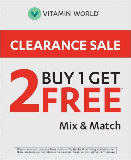 Buy 1 Get 2 Free Clearance Mix and Match^ from Vitamin World