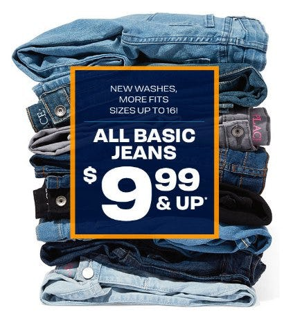 All Basic Jeans $9.99 & Up from The Children's Place