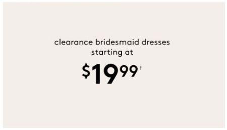 Clearance Bridesmaid Dresses Starting at $19.99 from David's Bridal