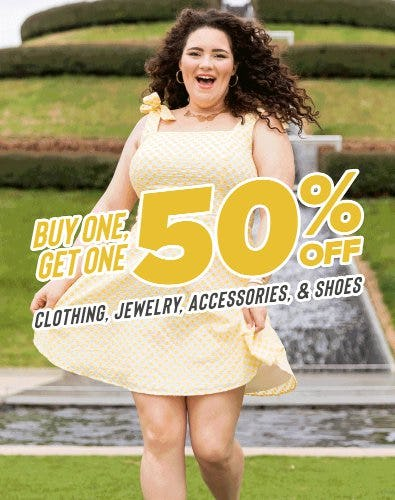Buy One, Get One 50% Off Clothing, Jewelry, Accessories, & Shoes