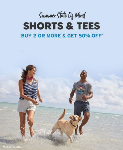 Shorts & Tees Buy 2 or More & Get 50% Off from Eddie Bauer