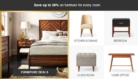 Up to 30% on Furniture from Target
