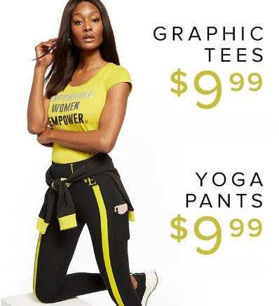 Graphic Tees $9.99 & Yoga Pants for $9.99 from New York & Company