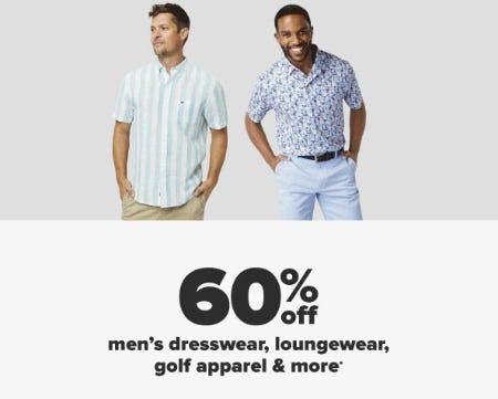60% Off Men's Dresswear, Loungewear, Golf Apparel & More