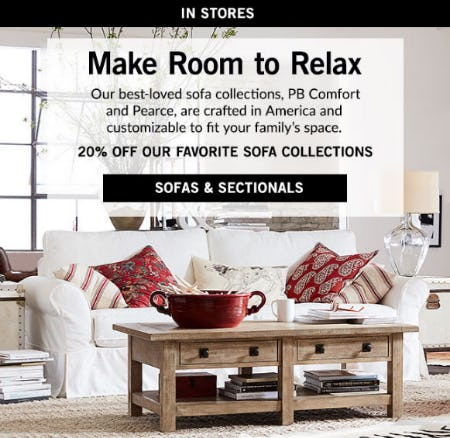 20% Off Sofa Collections from Pottery Barn