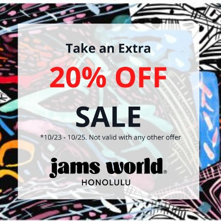 Last Day! Take an Extra 20% OFF SALE from Jams World