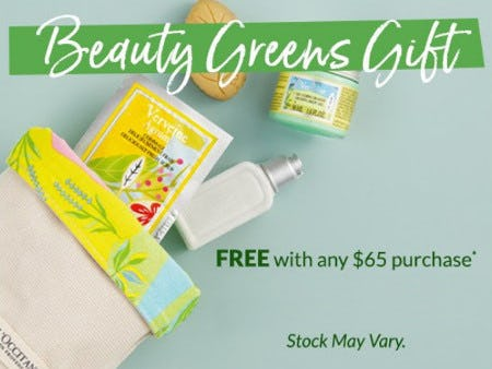 Beauty Greens Gift Free With Any $65 Purchase from L'Occitane