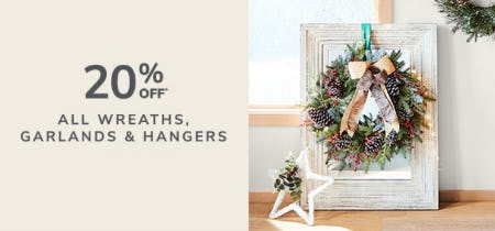 20% Off All Wreaths, Garlands & Hangers from Pier 1 Imports