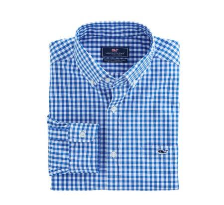 Carleton Gingham Classic Stretch Tucker Shirt from vineyard vines
