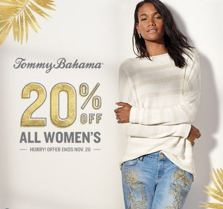 20% Off Women's Apparel from Tommy Bahama
