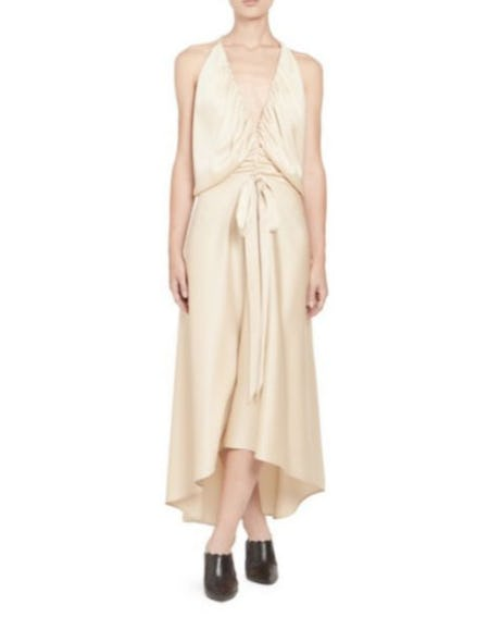 Chloé Satin Crepe Strappy Ruched V-Front Dress