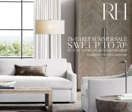 Up to 70% Off The Early Summer Sale from Restoration Hardware