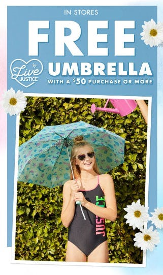 Free Umbrella with $50 Purchase from Justice