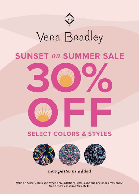 Sunset on Summer Sale is on! from Vera Bradley