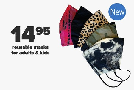 $14.95 Reusable Masks for Adults & Kids from Belk