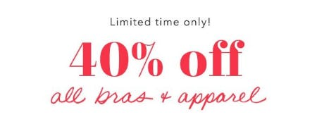 40% Off All Bras & Apparel from Aerie
