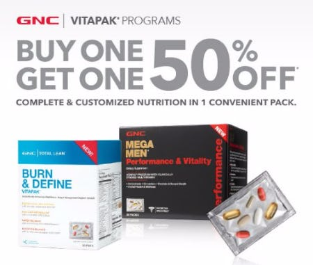 Buy One, Get One 50% Off GNC Vitapaks