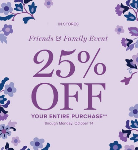 25% Off Friends & Family Event from Vera Bradley