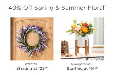 40% Off Spring & Summer Floral from Kirkland's