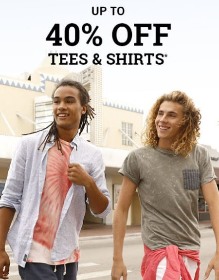 Up to 40% Off Tees & Shirts from Abercrombie & Fitch