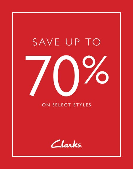 SAVE UP TO 70% from Clarks