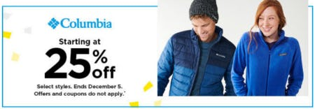 Columbia Starting at 25% Off from Kohl's