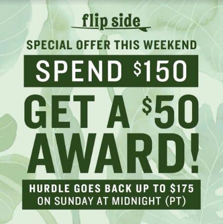 SPEND $150 GET A $50 AWARD