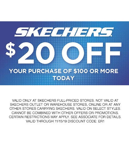 SKECHERS $20 OFF YOUR PURCHASE OF $100 OR MORE! from Skechers