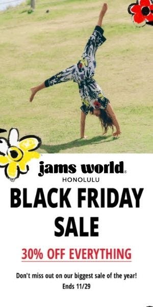 30% OFF EVERYTHING! BLACK FRIDAY SALE STARTS NOW! from Jams World