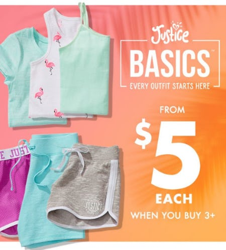 Justice Basics Starting at $5 Each from Justice
