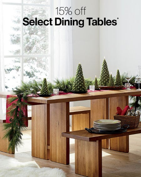 15% Off Select Dining Tables