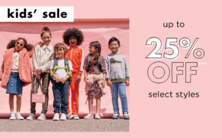 Up to 25% Off Kids' Sale