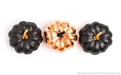 Metallic decorative pumpkins.