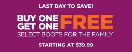 BOGO Free Select Boots for the Family from Rack Room Shoes