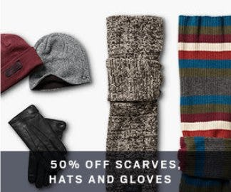 50% Off Scarves, Hats and Gloves from Men's Wearhouse