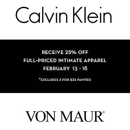 Calvin Klein Intimate Apparel 25% Off from Von Maur