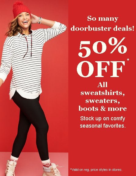 50% Off All Sweatshirts, Sweaters, Boots and More from maurices