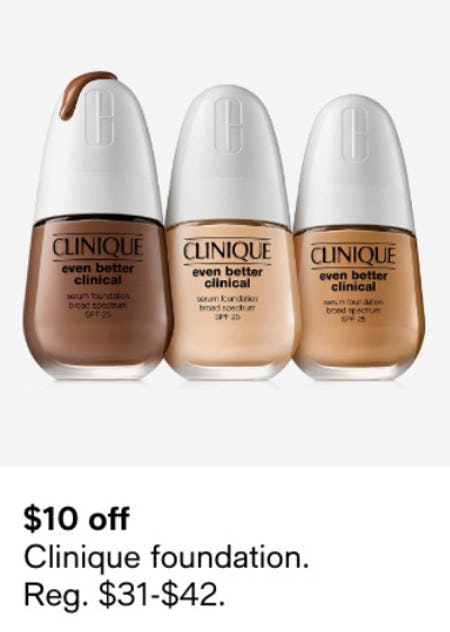 $10 Off Clinique Foundation from macy's