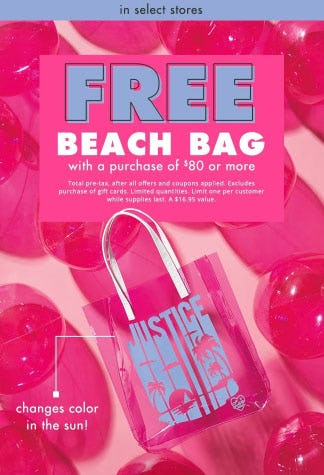 Free Beach Bag with a $80 Purchase from Justice