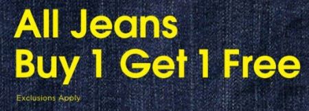 All Jeans Buy 1, Get 1 Free