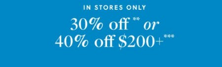 30% Off or 40% Off $200 More from J.Crew