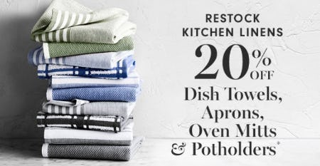 20% Off Dish Towels, Aprons, Oven Mitts & Potholders from Williams-Sonoma