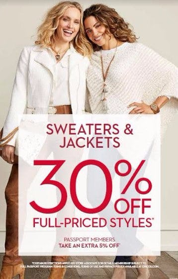30% OFF FULL PRICED STYLES, SWEATERS & JACKETS