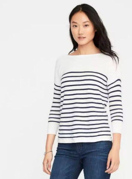 Lightweight Textured Bateau Sweater for Women