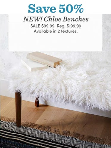 Save 50% on Chloe Benches from Cost Plus World Market