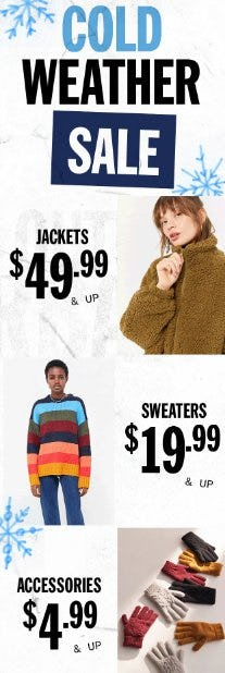 Cold Weather Sale: $4.99 & Up from Urban Outfitters